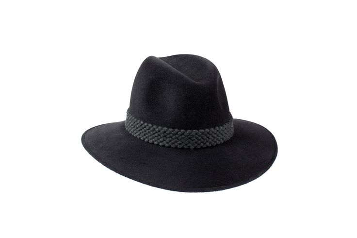 The Willow Fedora Classic Collection | Charcoal Black | Grey Wool Braid Band www.penmayne.com #fedora #hats #accessories