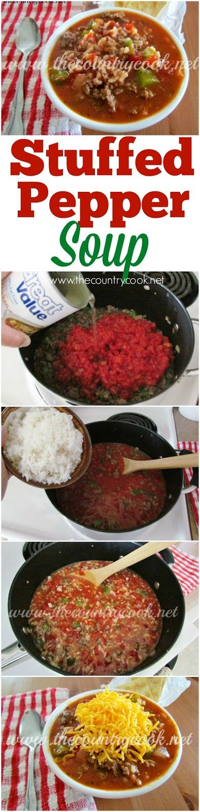 Stuffed Pepper Soup recipe from The Country Cook. Easy, delicious, southern, country, cooking