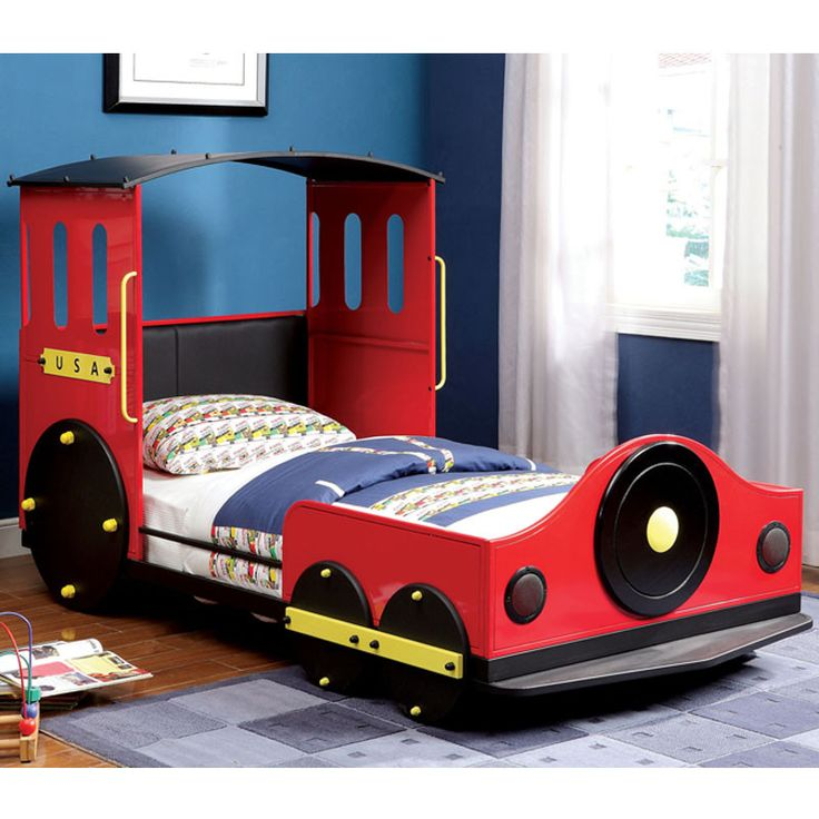 metal finish train design youth twin size bed frame - Bed Frame Deals