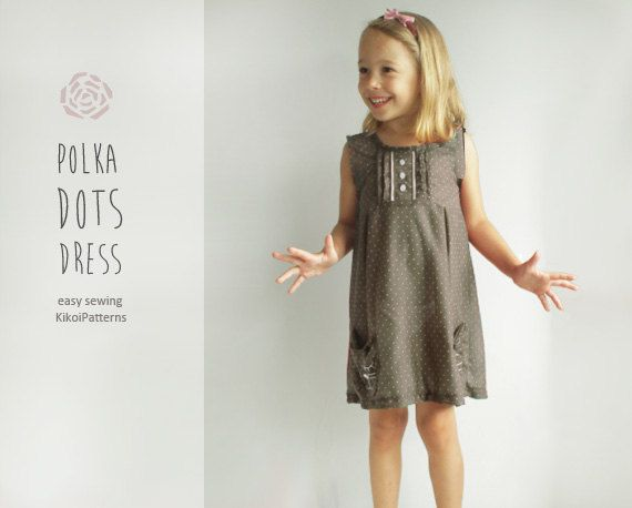 Kikoi easy PDF patterns for girls toddlers and babies: Giveaway for polka dot dress is over!