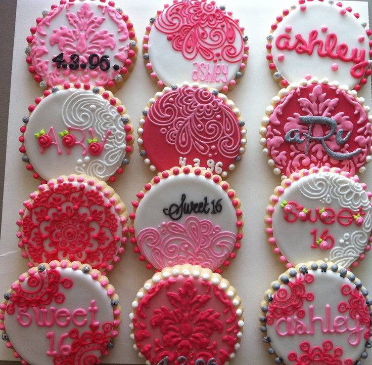 Girly Damask Cookies for a Sweet 16! PINK!