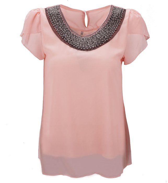 Benibos Women Casual Short Sleeve Slim Batwing Chiffon T-shirts Elegant Tops Blouse (US:M / Asia XL, Pink)