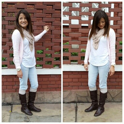 Pastel winter. White shirt, pink cardigan, light blue jeans, socks, boots, scarf