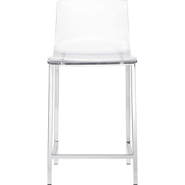 "vapor 24"" acrylic counter stool Kitchen Counter stool 16.5"" w x 17.5"" d x 33.5""h Seat height is 24"" CB2"