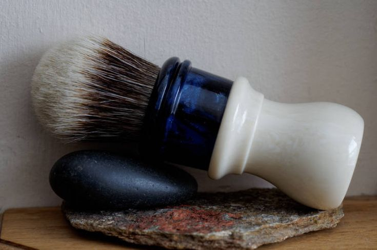 LARGE Shaving Brush - Hand-Made with Faux Ivory and Midnight Sky Resin Handle and a Two Band Badger Knot by LoveYourShave on Etsy