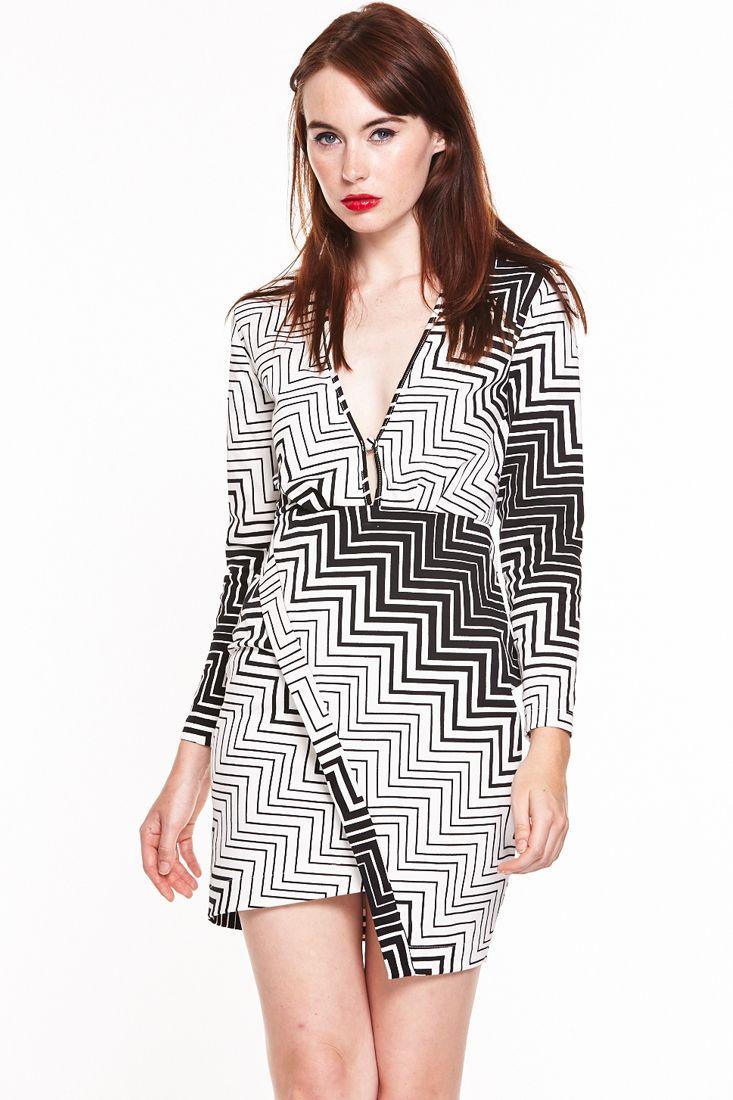 Monochrome Wrap Short Dress - Shop Wrap Dresses Online - Fashionhub.