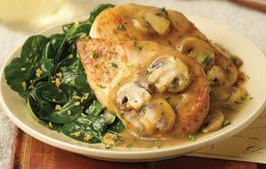 Carino's Chicken Marsala with Garlic Wilted Spinach   Copycat Recipe