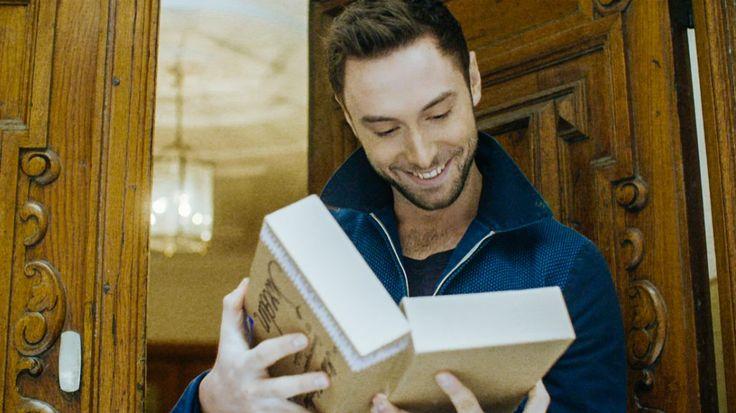 Mans Zelmerlow  receives a parcel