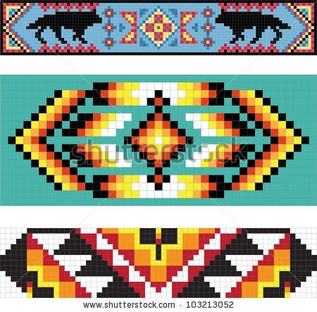 Many Native American designs include border patterns that run around the edges…