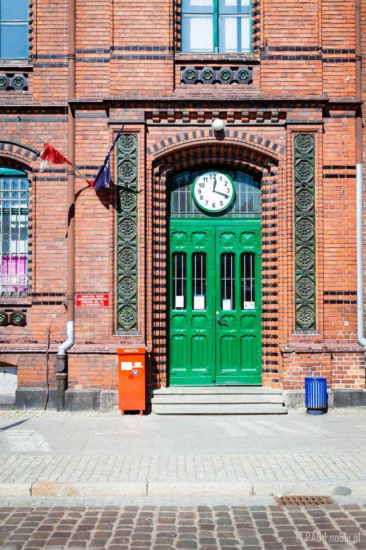 The post office entrance, market square in Chelmno (Culm, Culmen), Poland