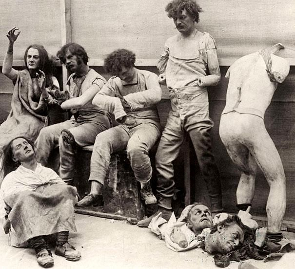Damaged mannequins from Madam Tussauds after a fire