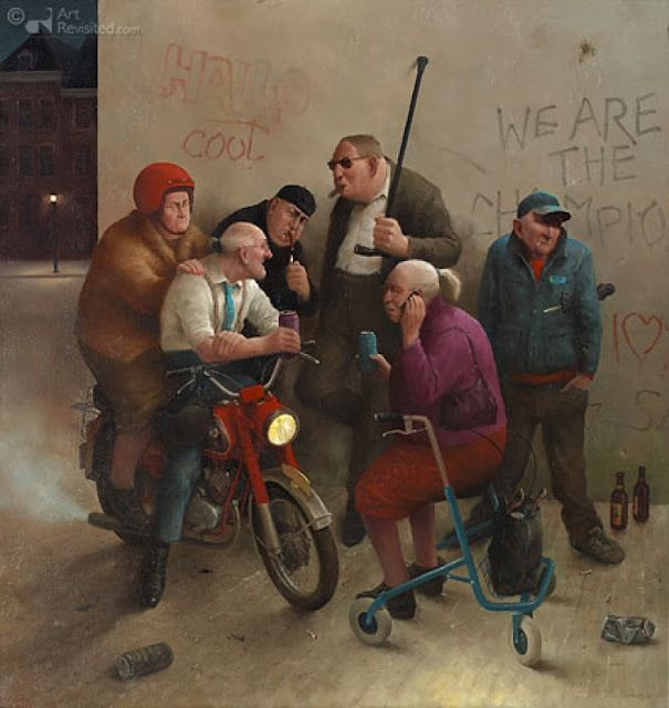 Marius van Dokkum , Named: Hang Elderly , Dutch Artist and Illustrator (So funny)
