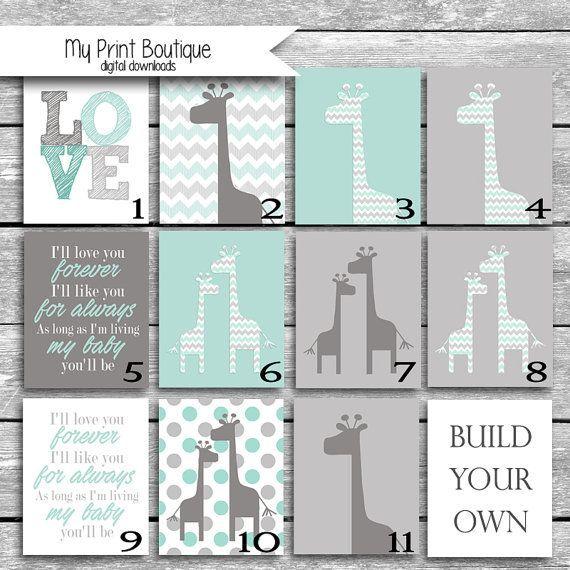 Build Your Own Printable Nursery Set Custom JPGs - Art Coordinates Peanut Shell Uptown Giraffe Crib Bedding 8x10 Digital Files