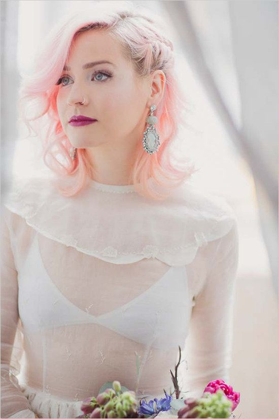 Funky fresh highlighter-pink hair looks amazing with a delicate wedding dress.