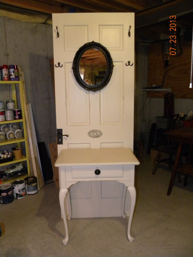 Repurposed Door And Old Sewing Machine Cabinet Craft Ideas Pinterest Trees Recycled Door