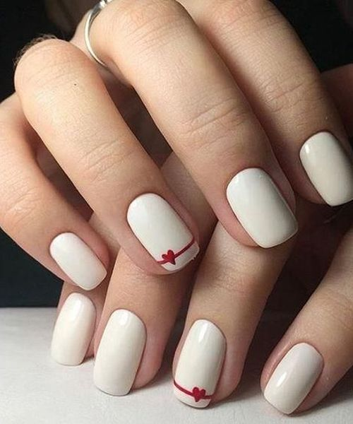 Romantic Red Heart Ribbon On White Nails For Girls Going On Dates Nail Designs Simple Acrylic