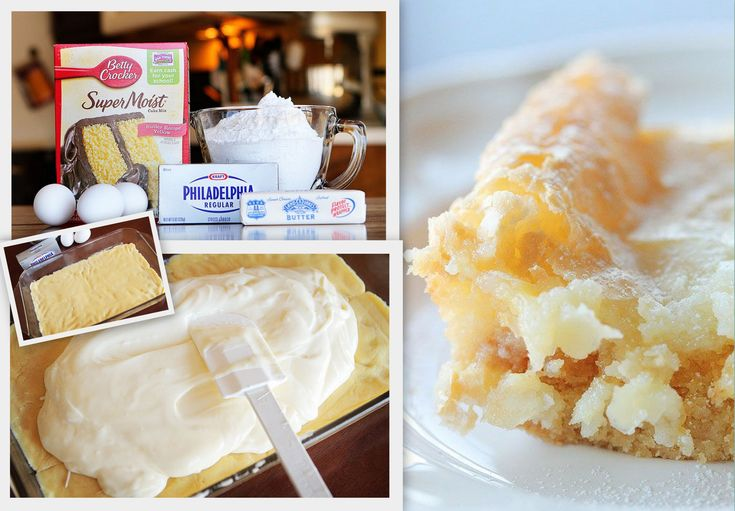 Yellow Butter Cake! Amazing, Yellow Cake Mix, Cream Cheese, Eggs, Butter, and Powdered Sugar.  Easy!