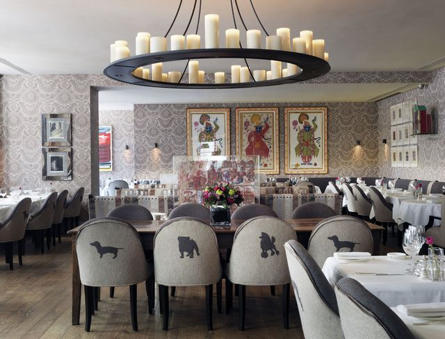 Haymarket Hotel. Brumus Bar and restaurant. Love the animal silhouettes on backs of chairs! Kit Kemp designer. London. -via Interior Canvas