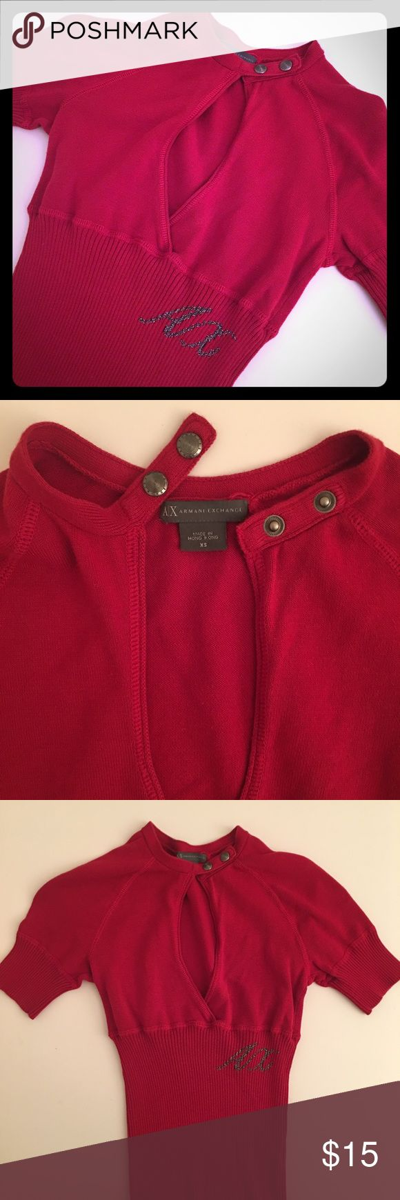 ARMANI EXCHANGE choker top ARMANI EXCHANGE red choker top, short sleeves with buttoned-up choker and AX logo on side. Gently used/excellent condition/no stains or defects. Make an offer! A/X Armani Exchange Tops
