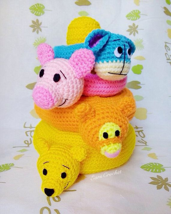 Crochet stacking toy pooh collectionstuffed baby toyring