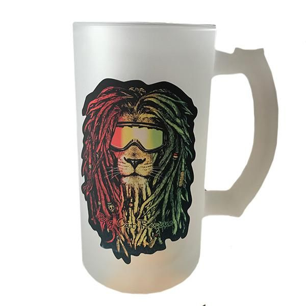 Glass - Rasta Lion Frosted Mug