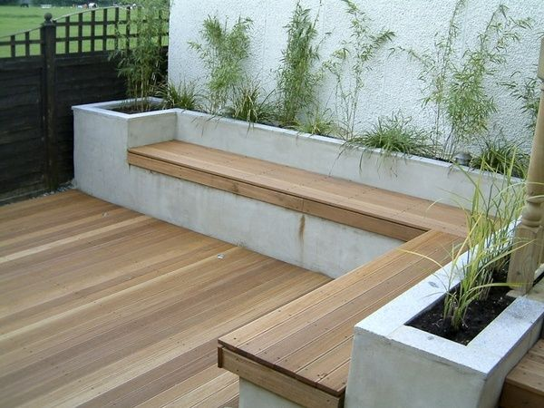 Concrete bench with wood