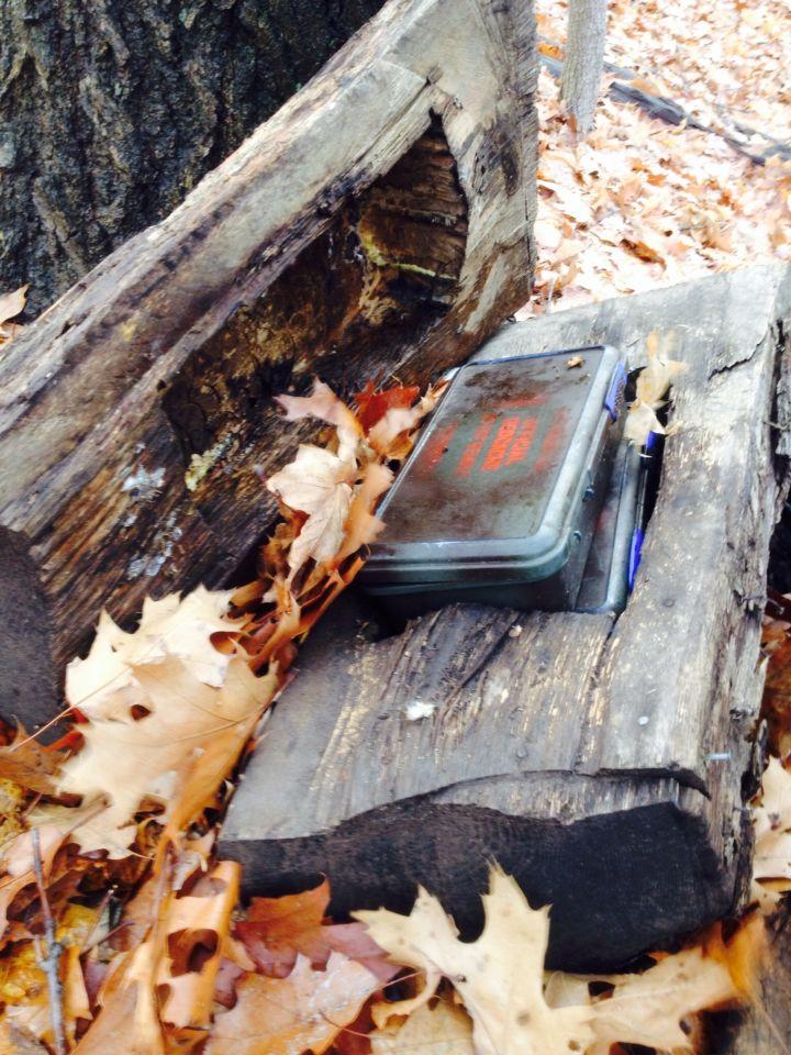 Geocache hidden in custom made log container. Found in Ontario Canada