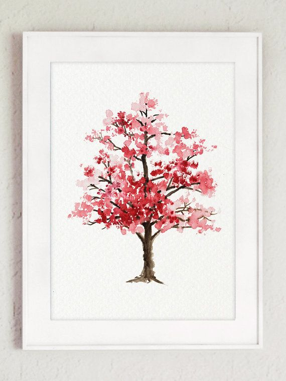 Cherry Blossom Tree Watercolor Painting Pink by ColorWatercolor
