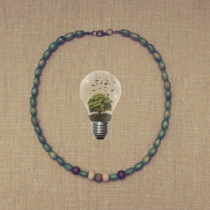 Kolye, tahta boncuk, yeşil, necklace, ben yaptım, diy, el emeği, el yapımı, takı