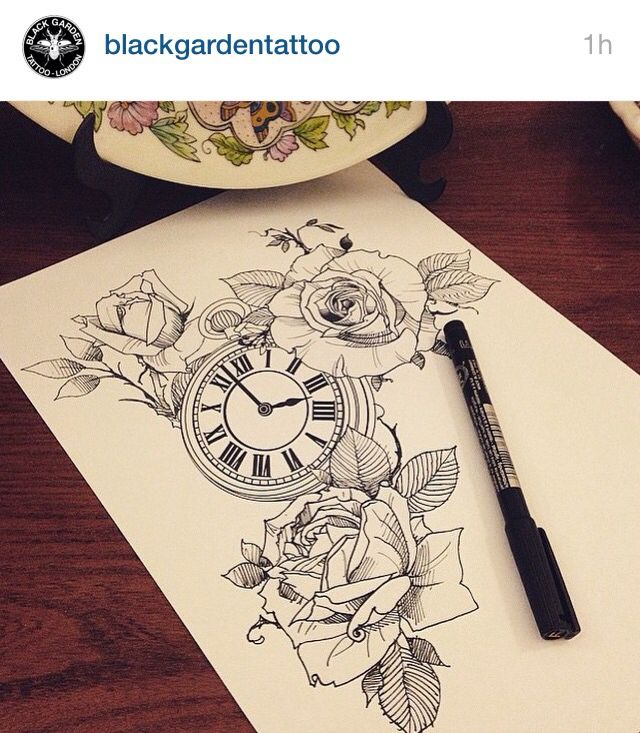 roses clock tattoo inspiration