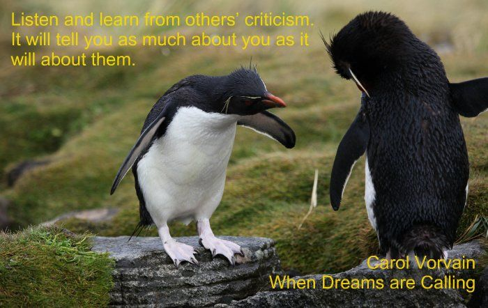 "The Benefits of Criticism ""Listen and learn from others' criticism. It will tell you as much about you as it will about them."" Carol Vorvain  #quote"