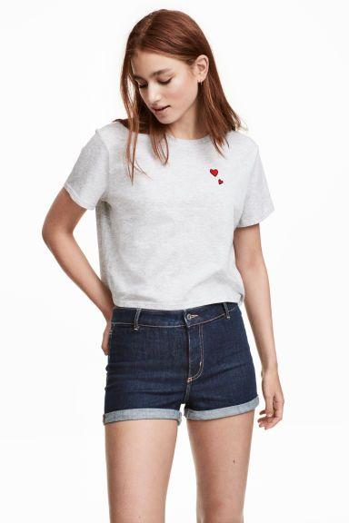Z2018  Krótki T-shirt - Jasnoszary - ONA   H&M PL 1