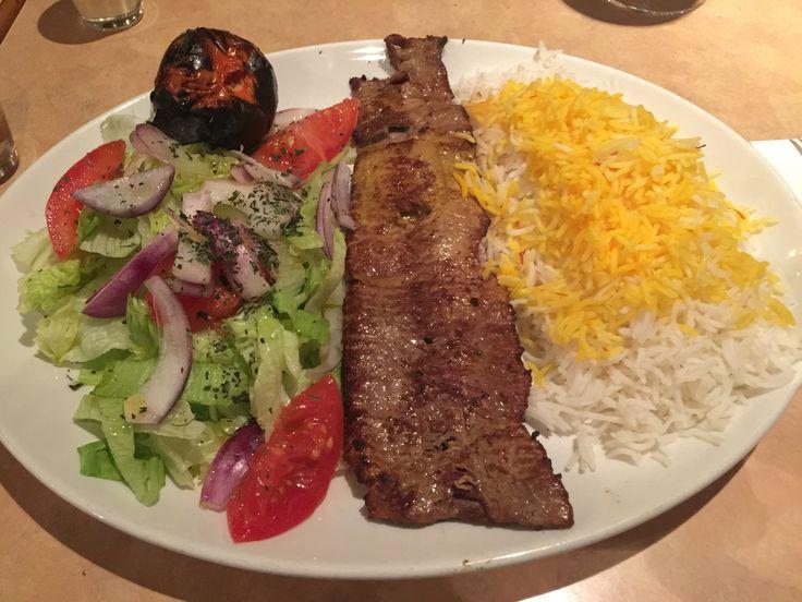Faanoos Persian Restaurant London UK: Lamb Kabob Barg Entree with Saffron Rice and Salad