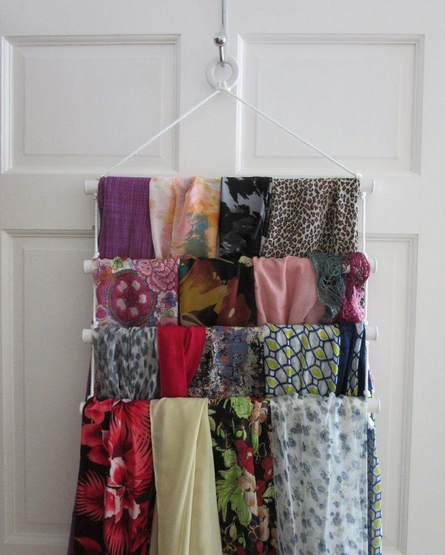 A simple yet perfect scarf hanger /organizer. Just place it on the hook behind the door and voilà, you are ready to display your scarves. by ThePineTreeShop on Etsy
