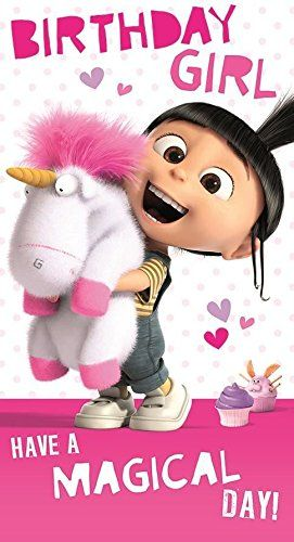 Despicable Me/Minions Birthday Girl Card - Agnes with Unicorn Despicable Me http://www.amazon.com/dp/B00S03E6UY/ref=cm_sw_r_pi_dp_WvPLwb1ZX20P2 Más