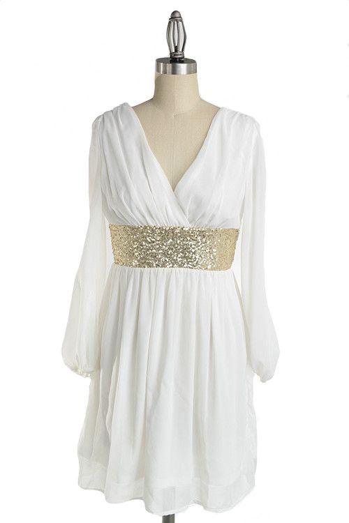 Roman Goddess Long Sleeve Sequin Dress - White + Gold - $57.00 | Daily Chic Dresses | International Shipping #engagement