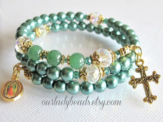 WRB247 Rosary Bracelet Teal Rosary Bracelet Pearl by OURLADYBeads, $12.00