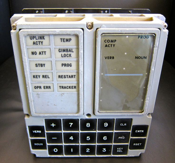This is a very special artifact, the original Apollo Guidance computer display and keyboard (DSKY) unit removed from the primary Command Module simulator at the Johnson Space Center. Neil Armstrong and every Apollo astronaut used this DSKY in training for their mission. This is the user interface to the Apollo Guidance Computer. Two-digit verb-noun pairs were entered in succession to control the computer's operation. It's direct assembly programming with 1.1K FLOPS of processing power. Th...