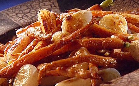 Roasted carrots and cippolini onions Recipe by Guy Fieri