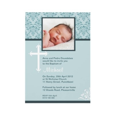 White Cross Religious Christening Invitations by Inviting Kids