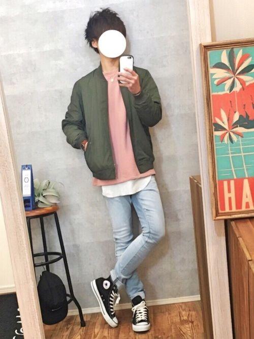 GUのMA-1に ピンクな春コーデ🌸 Instagram⇨@gaku_569 トップページからリ