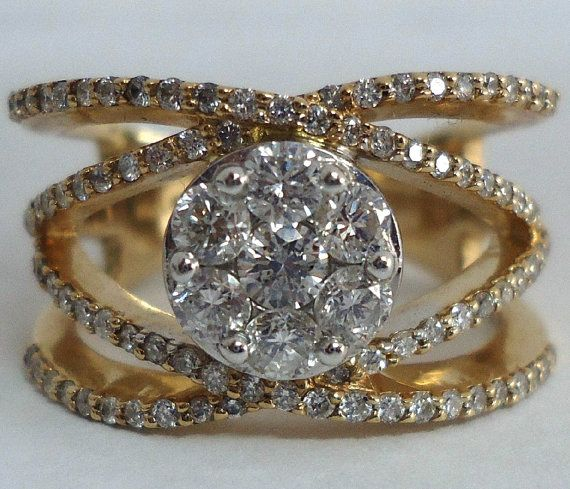 Gorgeous High End 14k Cluster Cocktail Wedding Ring by Viviansgirl, $857.00