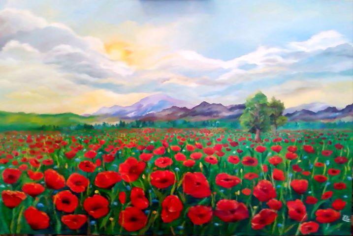 Poppies field, oil on canvas, Romania