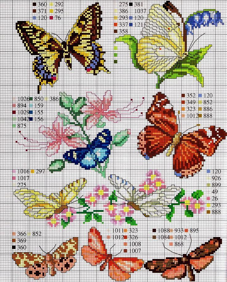 Punto croce - Schemi Gratis e Tutorial: Tante farfalle da ricamare a punto croce