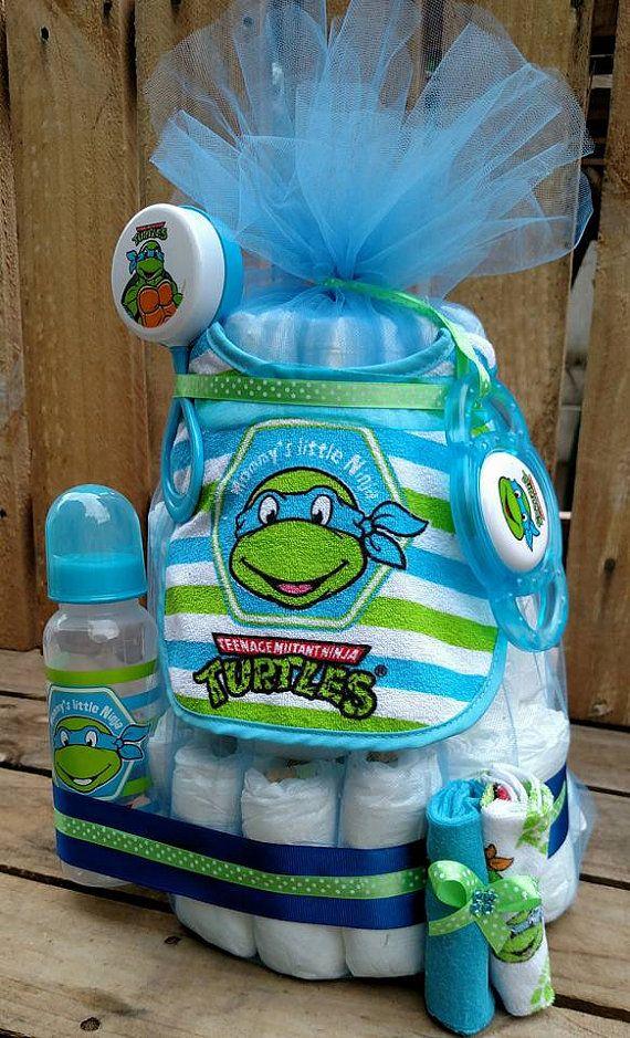 Blue Leonardo TMNT Teenage Mutant Ninja Turtles Baby Boy Diaper Cake. Gift! Baby Shower Centerpiece Decor Super Hero Mommy's Little Ninja