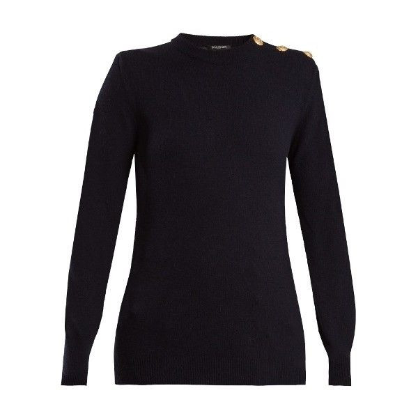 Balmain Button-shoulder crew-neck wool-blend sweater (4.360 BRL) ❤ liked on Polyvore featuring tops, sweaters, navy, round neck sweater, navy sweater, balmain sweater, navy long sleeve top and navy blue sweater