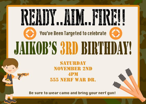 Free Printable Nerf Birthday Invitations ~ Boy s dart tag invitation invite laser nerf war awesome and guns