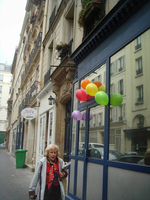 老婦人と風船