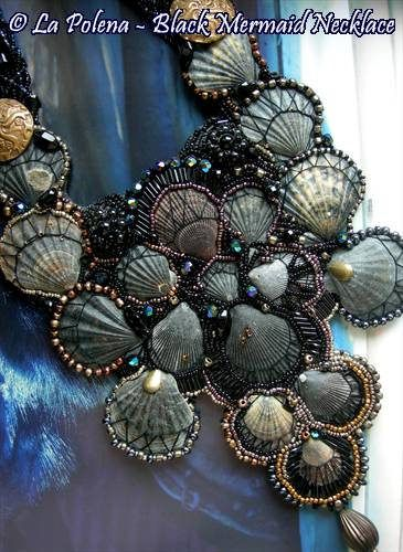 https://flic.kr/p/Qi1nfp | Black Mermaid XL sea shell necklace | Black vintage sea shells, black glass beads, gold-silver-bronze and black colours. bead embroidery necklace by La Polena, vintage brass buttons.