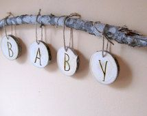 Woodland Baby Shower Decoration, Woodland Baby Room, Wood slice baby wall decor, Baby shower gift